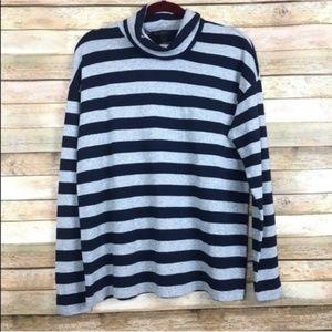 J. Crew Deck-striped turtleneck T-shirt O-584